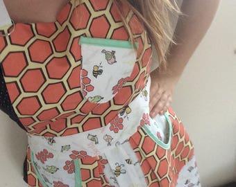 COLLAB: aprons for women, vintage apron, orange apron, full apron, pinny, adult apron, birds and bees, bird apron, retro apron