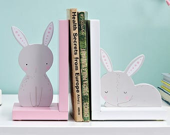 Bunny / Rabbit Wooden Nursery Bookends / Book stands / Book holders -  Birthday / Baby Shower Gift