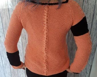 Hand knit Woman Sweater, Handmade Sweater, Women's Knitted, Knitted Jumper, Cable knit sweater, Long sleeveless, Ready to ship