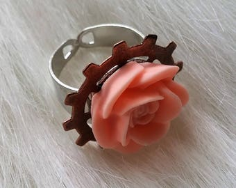 Gears n roses ring, wide band