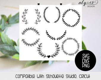 Leaf wreath SVG File, Leaves, Crown, laurel wreaths, clipart, cut files, Silhouette, Cricut, PNG, frames, ornaments, elements