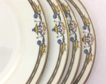 Vintage 1920's Noritake Amiston Design 8 Piece China Set 4 Dinner Plates 4 Salad Plates Japan