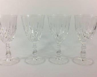 Vintage Cut Lead Crystal Set of 4 Wine Glasses Goblets, Wedding Crystal, Wedding Decor, Christmas Tableware