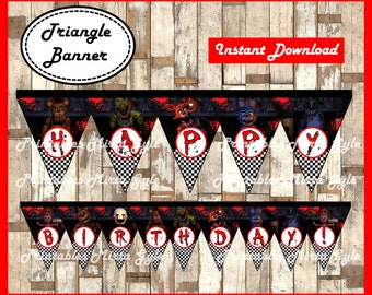 Five Nights at Freddys Banner, printable FNaF party Banner, Five Nights at Freddy's triangle Banner