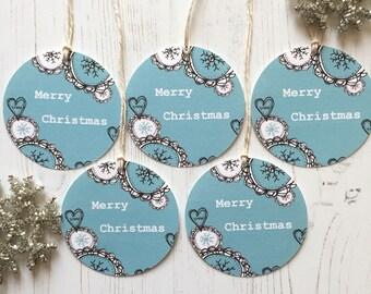 Pack of 5 Christmas tags - 5 round Christmas tags - Christmas tags - christmas snowflake tags - present tags - teal christmas tags -