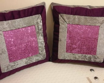 Cushions in Vintage style pair | Sofa Cushions | Bearings | Bright Pink | Free Shipping