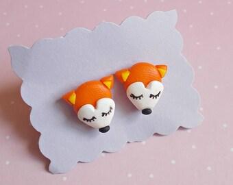 Cute fox earrings, Handmade stud earrings, Polymer clay creation, Cute gift