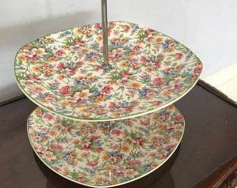 "Stylecraft Fashion Vintage Two Tier Cake Stand 1950s 10.5"" Tall"