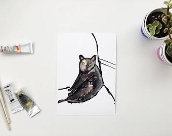 Cat painting, Cat art, Cat print, Funny cat art, Cat owner, Cat present, Cat gift, Black cat, Cat love, Love cats, Funny cat, Giclee cat,