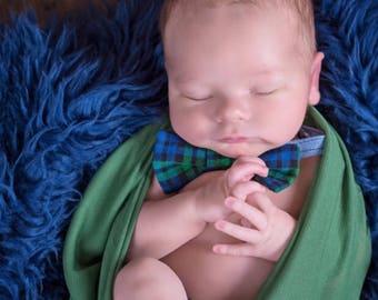 baby plaid outfit- navy tie prop set- newborn navy bow tie- navy boys prop set- newborn navy tie- boys tie prop set- newborn tie prop set