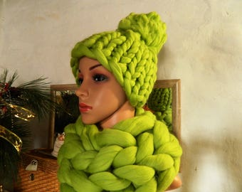 Oversize Scarf Hat Set. Lime Green Hand Knit Scarf Hat Set. Merino Chunky Hat. Tick Snood. Gift for Women Gft for Her Valentine's Day Gift