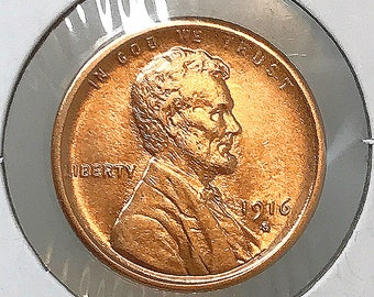 1916 S Lincoln Wheat Cent - Gem BU / MS RD / Unc
