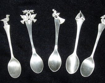 Lot of 5 Vintage Rawcliffe Pewter Spoons – Sailboat, Pelican, Doves, Gull, Horn 1980's