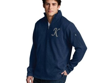 Men's pullover, men's zippered pocket, quarter zip pullover, monogrammed pullover, sweater for men, men's 9312 Charles River, company gift