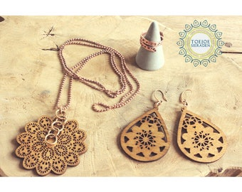 Necklace Earrings Ring | Rosegold & Wood