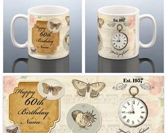60th Birthday Personalised Mug Vintage Butterfly 60 BIRTHDAY MUG 1957 Gift for her Present Friend Mum Mom Nan Women Ladies Coffee Tea Mug