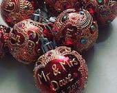 5pk Personalised Christmas Tree Baubles mix sizes hand designed - Christmas decoration, secret santa, christmas present, handmade gift