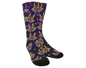 Majora Socks - Knee High Socks Zelda Socks Majoras Mask Socks Legend of Zelda Socks Video Game Socks Geeky Socks Nerdy Socks Cosplay Socks