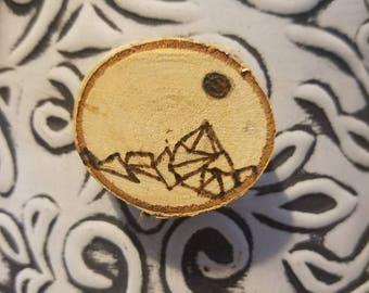 Birch Wood Burned Magnet