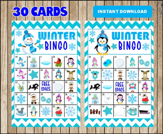 It's just a photo of Selective Winter Bingo Cards Free Printable