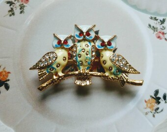 Vintage Owls On A Branch Pin/Brooch    Trio Of Owls