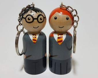 Harry Potter and Ginny Key chains, Harry Potter Fan Gift, Wooden Key Chains