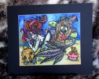 """Seaweed -- Original 9"""" x 12"""" piece with 12x16 mat)"""