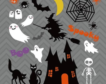 Halloween clip art, Halloween vector, Haunted house, ghosts, bat, spider, moon, cats, skull, spiderweb, witch vector