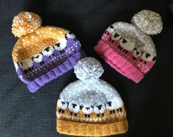 Sheep bobble hat - winter hat - baby hat - wooly hat