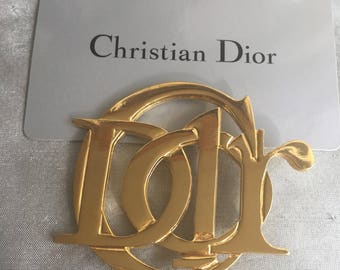 Christian Dior vintage brooch monogramm logo c dior