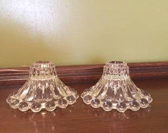 Crystal Glass Candle Holder set Berwick Boopie Vintage