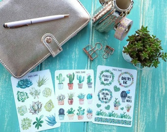 Planner Diary Stickers, Travellers Bullet Journal Stickers, Decorative Stickers Cactus Succulent Stickers