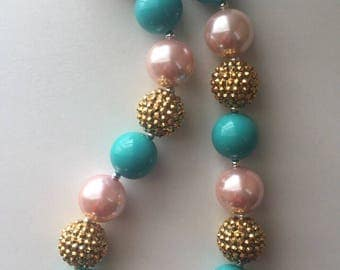 Boutique gold teal and pink bubblegum necklace
