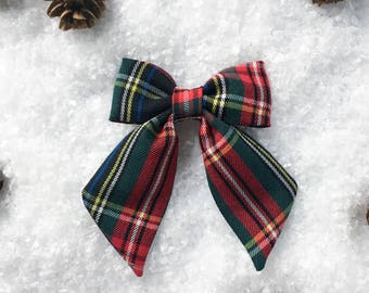 Holiday plaid hair bows, Christmas bows for girls, large plaid sailor bows, holiday bows, girls christmas gift, stocking stuffers, baby bow