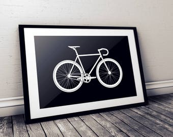 Black and white, gift for cyclist, cycling gift, bike gift, bicycle gift, cycling wall art, gallery wall
