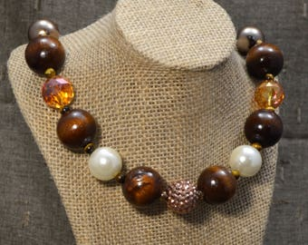 Amber, Gold, & Faux Wood Chunky Necklace