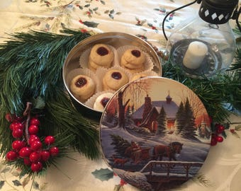 Raspberry Thumbprint Cookies in a Christmas Cookie Tin, Cookie Care Package, Nut Free Christmas Cookies, Cookie Gift Basket, Hostess Gift