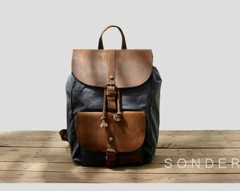 S O N D E R - Waxed canvas backpack, Vintage BackPack, Canvas with Brown Leather, Waxed Canvas Ruck Sack, Laptop bag, Mens / Woman backpack