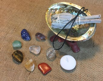 "Chakra Stone Set: 7 Chakra Crystals, 3"" California Sage, Shell, + Instructions"