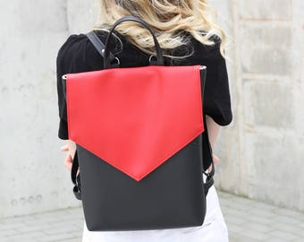 Vegan leather backpack - Minimal red and black backpack - Faux leather backpack