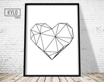 Geometric Heart Print, Printable Art, Digital Print, Wall Art, Home Decor, Modern Decor, Scandinavian Poster, Geometric Art Printable, Love