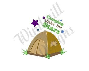 Tent Camping Under Stars - Machine Embroidery Design