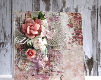 Romantic card with rose and butterfly