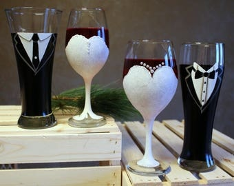 Wedding Dress Wine Glass and Tuxedo Beer Pilsner  Hand Painted Glass Pair