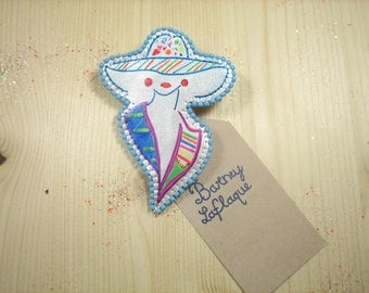 Brooch Lady with neon Cape