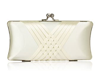 Ivory Satin Clutch Bag