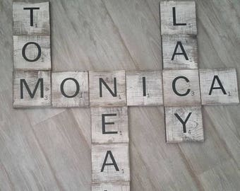 Rustic Wood Scrabble Tiles, Rustic Scrabble Tile, Hanging Scrabble, Wall Scrabble, Wall Art, Home Decor, Wooden Scrabble Tiles, Scrabble