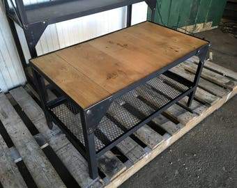 Industrial steel and wood coffee table