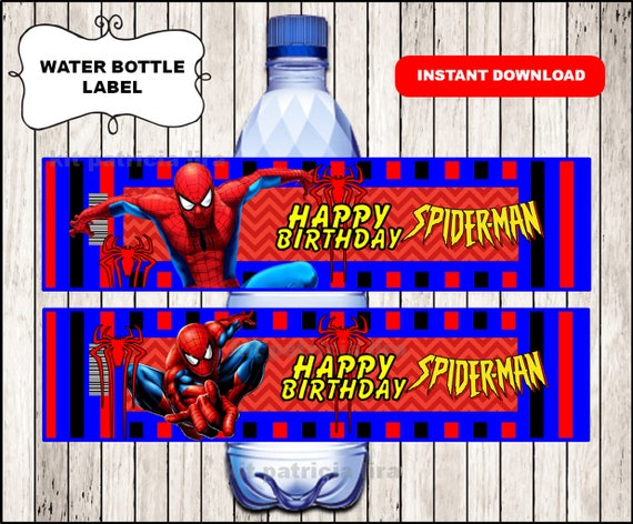 Spiderman Logo Water Labels Instant Download Spiderman Water