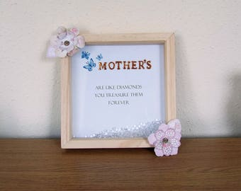 Wooden Framed Picture Verse - Mother's Are Like Diamonds - natural wood with 'diamonds' - Unique gift/present/wall hanging/decorative